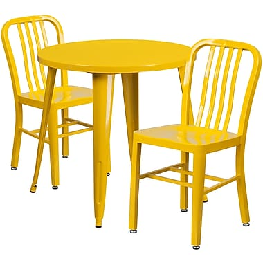 30'' Round Yellow Metal Indoor-Outdoor Table Set with 2 Vertical Slat Back Chairs [CH-51090TH-2-18VRT-YL-GG]
