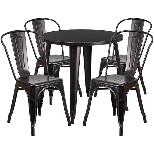 Flash Furniture 30'' Round Black-Antique Gold Metal Indoor-Outdoor Table Set with 4 Cafe Chairs (CH-51090TH-4-18CAFE-BQ-GG)