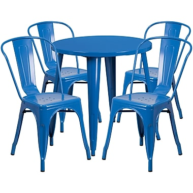 30'' Round Blue Metal Indoor-Outdoor Table Set with 4 Cafe Chairs [CH-51090TH-4-18CAFE-BL-GG]