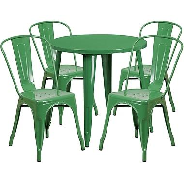 Table ronde de 30 po en métal avec 4 chaises à café, intérieur/extérieur, vert (CH-51090TH-4-18CAFE-GN-GG)