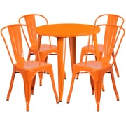 30'' Round Orange Metal Indoor-Outdoor Table Set with 4 Cafe Chairs [CH-51090TH-4-18CAFE-OR-GG]