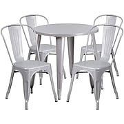 30'' Round Silver Metal Indoor-Outdoor Table Set with 4 Cafe Chairs [CH-51090TH-4-18CAFE-SIL-GG]