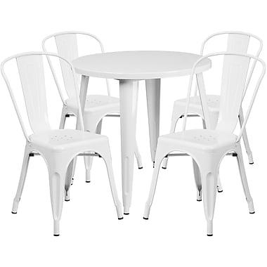 Table ronde de 30 po en métal avec 4 chaises de bistro, intérieur/extérieur, blanc [CH-51090TH-4-18CAFE-WH-GG]