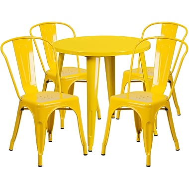 30'' Round Yellow Metal Indoor-Outdoor Table Set with 4 Cafe Chairs [CH-51090TH-4-18CAFE-YL-GG]