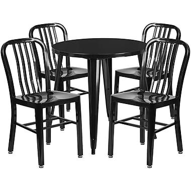 Table ronde de 30 po en métal avec 4 chaises à dossier à lattes verticales, int./ext., noir (CH-51090TH-4-18VRT-BK-GG)