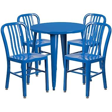 Table ronde de 30 po en métal avec 4 chaises à dossier à lattes verticales, int./ext., bleu (CH-51090TH-4-18VRT-BL-GG)