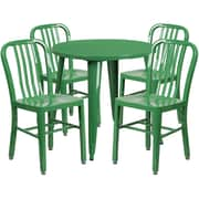30'' Round Green Metal Indoor-Outdoor Table Set with 4 Vertical Slat Back Chairs [CH-51090TH-4-18VRT-GN-GG]