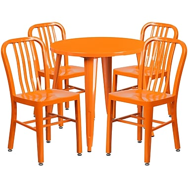 30'' Round Orange Metal Indoor-Outdoor Table Set with 4 Vertical Slat Back Chairs [CH-51090TH-4-18VRT-OR-GG]
