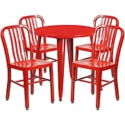 30'' Round Red Metal Indoor-Outdoor Table Set with 4 Vertical Slat Back Chairs [CH-51090TH-4-18VRT-RED-GG]