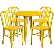 30'' Round Yellow Metal Indoor-Outdoor Table Set with 4 Vertical Slat Back Chairs [CH-51090TH-4-18VRT-YL-GG]