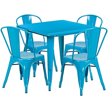 31.5'' Square Crystal Blue Metal Indoor-Outdoor Table Set with 4 Stack Chairs [ET-CT002-4-30-CB-GG]