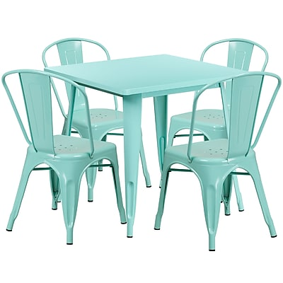 31.5'' Square Mint Green Metal Indoor-Outdoor Table Set with 4 Stack Chairs [ET-CT002-4-30-MINT-GG]