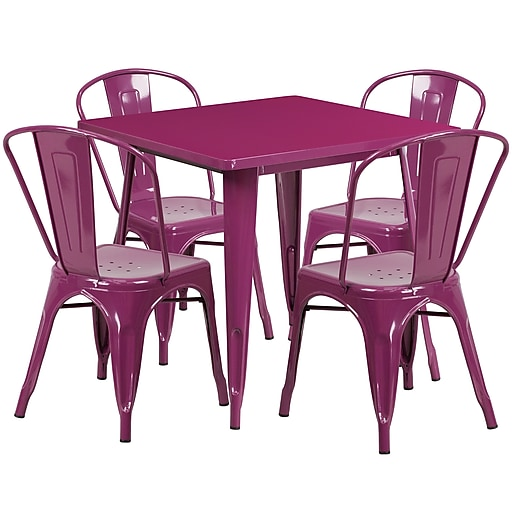 31.5'' Square Purple Metal Indoor-Outdoor Table Set with 4 Stack Chairs [ET-CT002-4-30-PUR-GG]