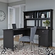 Bush Furniture Salinas 60W L Shaped Desk with Hutch, Vintage Black (SAL004VB)