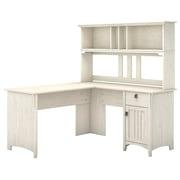 Bush Furniture Salinas 60W L Shaped Desk with Hutch, Antique White (SAL004AW)