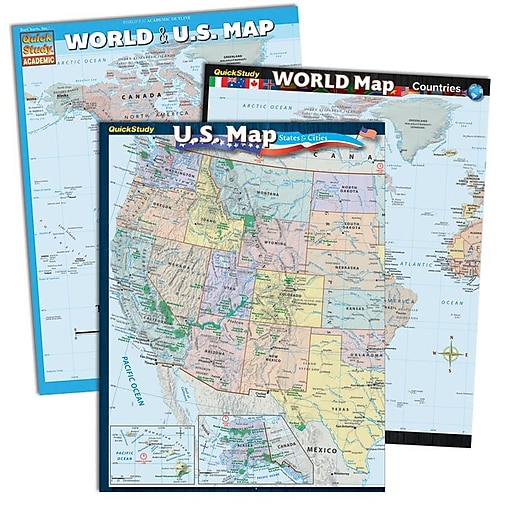 Quickstudy World Us Reference Set 2498003 Staples - Staples-us-map