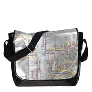 "New York City Subwayline Map PVC Messenger Bag for 13.9"" Laptops, Silver"