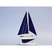 Handcrafted Model Ships Pacific Sailor 17 in. - Blue Sails Decorative Sail Boat (HDFM1879)