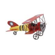 Woodland Yellow Red Decorative Metal Bi Airplane With Stars (WLMGC8381)