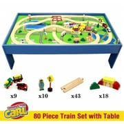 Brybelly Conductor Carl 80 Piece Wooden Train Set with Table (RTL59195)