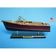 Handcrafted Model Ships Chris Craft Triple Cockpit 14 in. Decorative Speed Boat( HDFM2028)