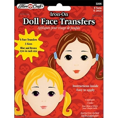 Fibre Craft Iron-On Embroidered Doll Face Transfers 6/Pkg (NMG6397)