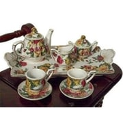 The Queens Treasure Miniature Fine China Tea Set Perfectly Sized for American Girl Dolls - Antique Rose Pattern (TQST047)