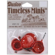 """Darice 1.5"""" 12 Pieces Miniature Pots and Pans with Lids - Red (NMG5782)"""