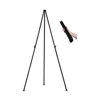 Bi-Silque Visual Communication Products Instant Easel, 61.5 in., Black, Steel, Heavy-Duty (AZTY02183)