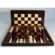 Worldwise Imports 19 in. Simple wood Grain with Chess Board - Decoupage Wood Backgammon (WWI1880)
