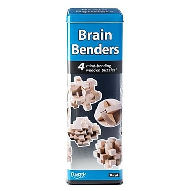 POOF-Slinky Ideal Brain Benders Mind-Bending 3D Wooden Puzzles with Storage Tin 4-Pack (POOF236)