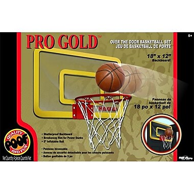 POOF-Slinky Pro Gold Over The Door 18-in. Breakaway Rim Basketball Hoop Set (POOF276)
