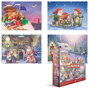EuroGraphics The Christmas Collection 4 Pack 500-Piece Puzzles (EUGR519)
