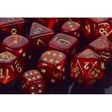 Chessex Manufacturing 27414 Scarlet With Gold Numbering Dice Set Of 7 (ACDD2204)
