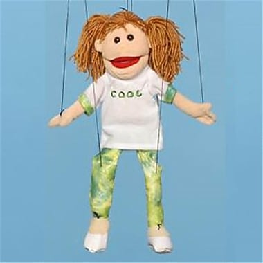 Sunny Toys 22 In. Brunette-Haired Girl In Green, Marionette People Puppet (SNTY441)
