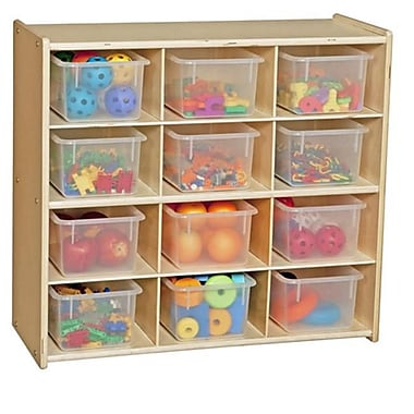 Contender Contender Baltic Birch 12-Cubby Storage Unit With Clear Tubs-Assembled (WDMI887)