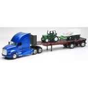 New Ray Kenworth T700 Flatbed with Farm Tractor & Trailer Long Hauler Toy Truck, Pack of 6 (NWRT009)