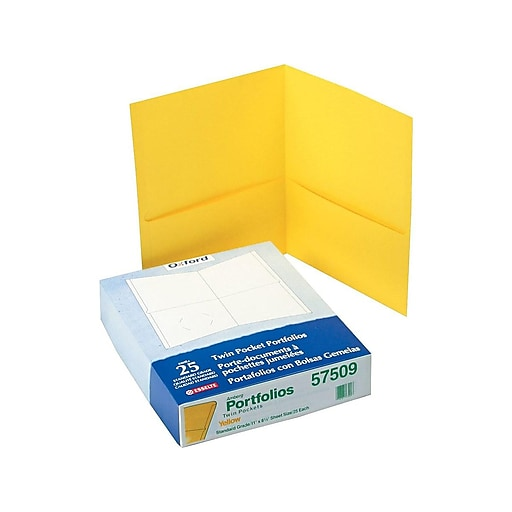 Oxford Twin Portfolio Folders, Yellow, 25/Box (OXF 57509)