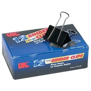 Officemate Binder Clips, Large, Black, 12/Box (99100)