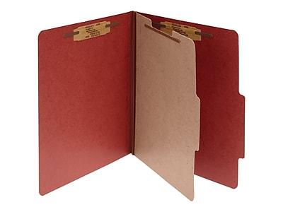 ACCO Pressboard Classification Folders, Letter Size, 1 Divider, Earth Red, 10/Box (A7015034)