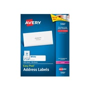"Avery Easy Peel Laser Address Labels, 1"" x 4"", White, 20/Sheet, 100 Sheets/Pack (5161)"