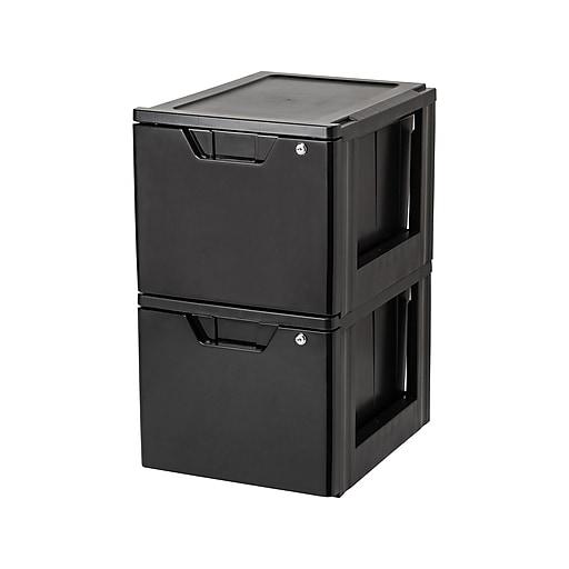Iris Stackable Storage Drawer, Black, 2/Carton (122092)