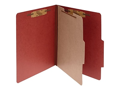 ACCO Pressboard Classification Folders with Fasteners, 4-Parts, Legal Size, 1 Divider, Earth Red, 10/Box (A7016034)