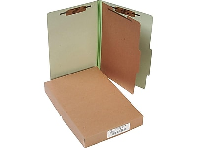 ACCO Pressboard Classification Folders, Legal Size, 1 Divider, Leaf Green, 10/Box (A7016044)