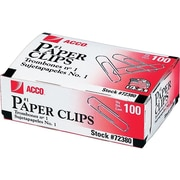 ACCO Economy #1 Paper Clips, Silver, 100/Box, 10 Boxes/Pack (A7072380)