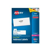 "Avery Easy Peel Laser Address Labels, 1 1/3"" x 4"", White, 14/Sheet, 100 Sheets/Pack (5162)"