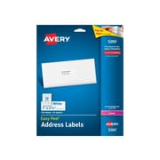 "Avery Easy Peel Laser Address Labels, 1"" x 2 5/8"", White, 30/Sheet, 25 Sheets/Pack (5260)"