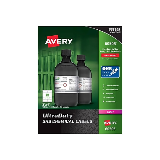 "Avery UltraDuty Laser Specialty Labels, 2"" x 4"", White, 10/Sheet, 50 Sheets/Pack (60505)"