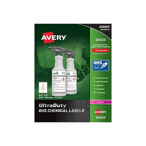 "Avery UltraDuty Laser Specialty Labels, 3 1/2"" x 5"", White, 4/Sheet, 50 Sheets/Pack (60503)"