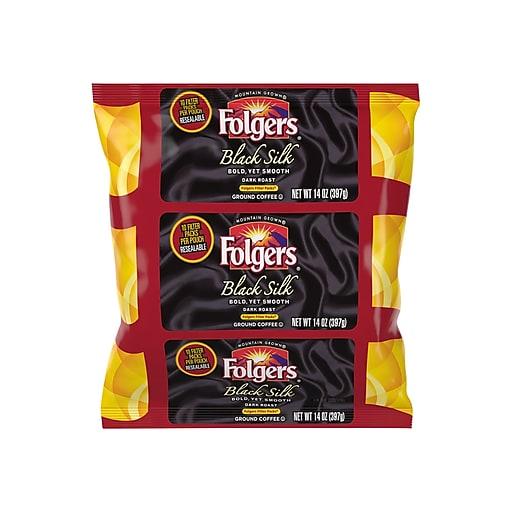 Folgers Black Silk Filter Packs Coffee, Dark Roast, 40/Carton (SMU00016)